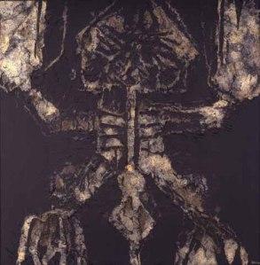 Aplastado en piedra. 1974  Técnica mixta sobre lienzo 100x100 cm.  Fundación César Manrique