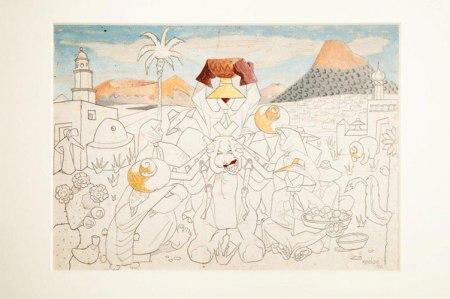 Sin título. 1942 Lápiz y óleo sobre papel (boceto mural) 27x38cm  Fundación César Manrique.