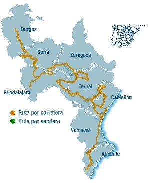 Mapa del Camino del Cid / Imagen: web del consorcio