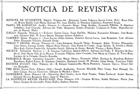 Mención a Revista de Occidente en Mediodía, revista sevillana de literatura (número de febrero de 1928)