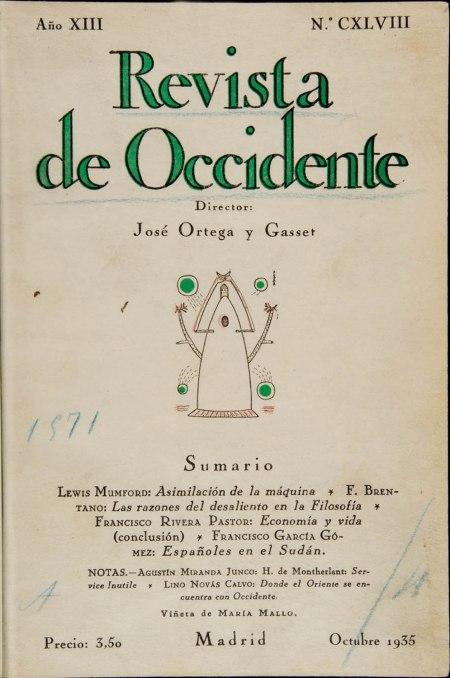 Revista de Occidente, octubre de 1925 / Foto: Biblioteca Nacional de España
