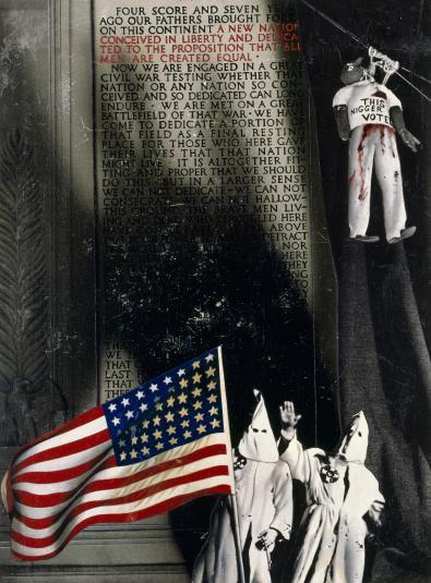 """Josep Renau. """"Todos los hombres son creados iguales"""". De la serie """"Estilo de vida americano"""", 24, 1956.   Cortesía IVAM, Institut Valencià d' Art Modern, Generalitat. Depósito Fundación Renau, Valencia."""